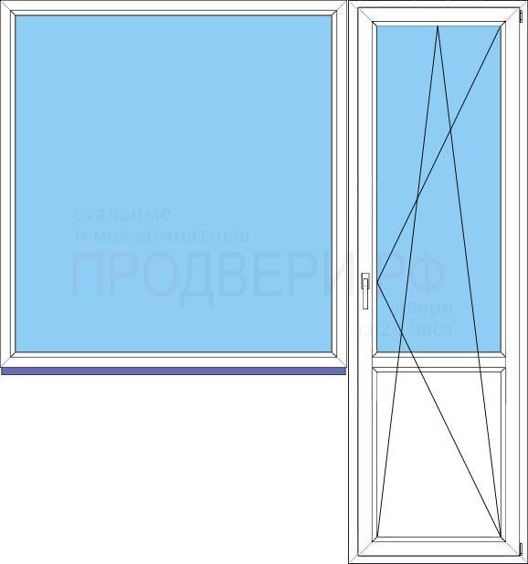 Рисунок и размер пластиковых балконных дверей.